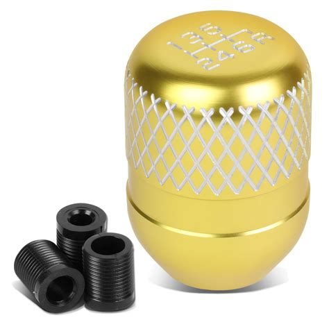Gold Shift Knob by Universal 6 Speed Gold Anodized Aluminum Netted Racing