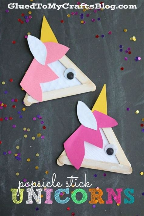 kid crafts for popsicle stick unicorns kid craft popsicles kid and