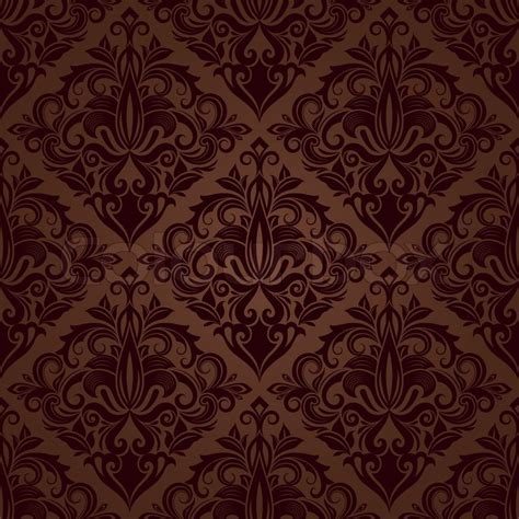 brown floral pattern border seamless brown floral vector wallpaper pattern stock