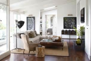 Contemporary rustic modern living room wood trunk table jpg