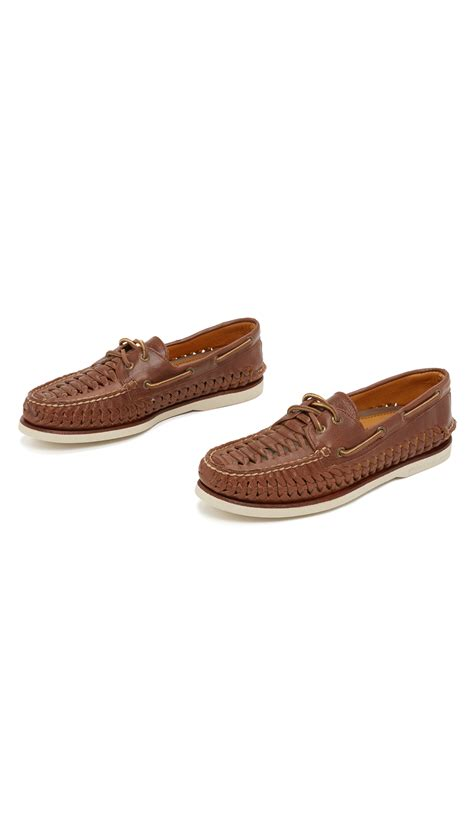 lyst sperry top sider gold a o 2 eye woven boat shoe in