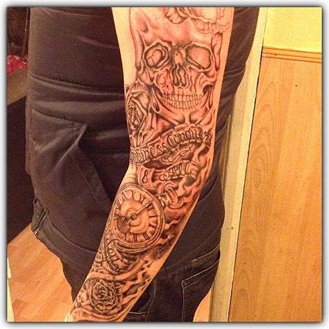 skull and rose tattoo sleeve black and grey skull and roses sleeve pocket