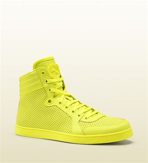 yellow sneakers mens gucci neon yellow leather hightop sneaker in yellow for