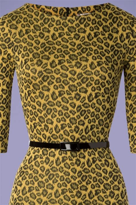Leopard Yellow Mustard 50s therrie leopard pencil dress in mustard yellow