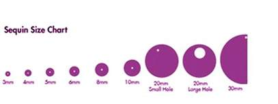Size charts for beads and sequins