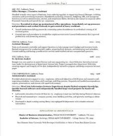 resume templates for administrative assistants executive assistant resume exle executive assistant
