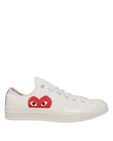 Converse 1970s Cdg Play Low Black White comme des gar 231 ons play converse chuck low white in white for lyst