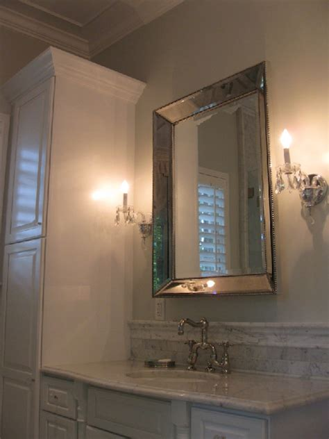 Restoration Hardware Bathroom Mirror Restoration Hardware Venetian Beaded Mirror Transitional Bathroom West End Cabinet Company