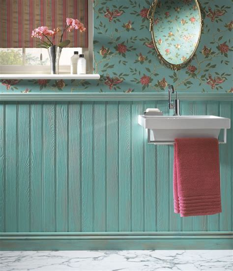 Wallpaper Wainscoting Ideas tongue groove turquoise wainscoting with floral wallpaper bathroom ideas