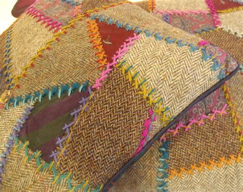 Tweed Patchwork - tweed patchwork embroidery janet haigh work