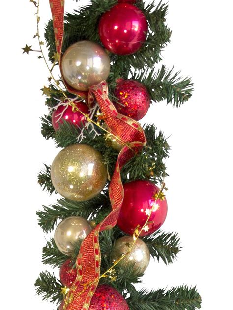 pre decorated red gold bauble garland 2 7m garlands
