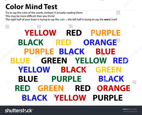 color word test color mind test reading words is easier than telling