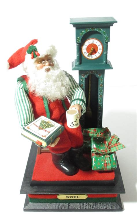 christmas cordation vintage creations 1993 animated santa clause with grandfather clock cocoa story