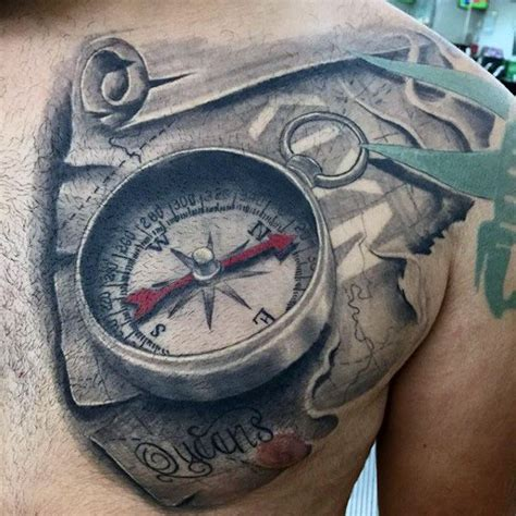 tattoo compass 3d 3d world map scroll tattoo for men on chest map clock
