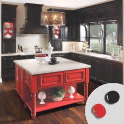 Kitchen with black painted kitchen cabinets and red painted kitchen