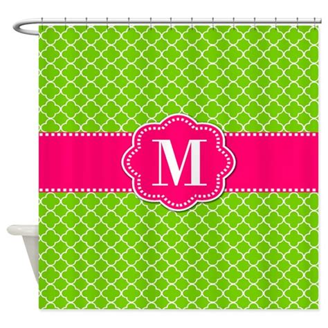 lime green and pink curtains lime green pink monogram shower curtain by