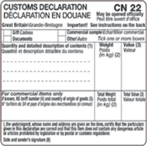 a bite of spain cn22 customs declaration form