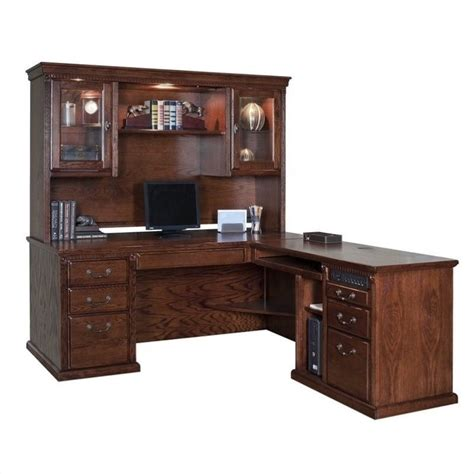 L Shape Computer Desk With Hutch Computer Desk Workstation Table L Shape Rhf Executive With Hutch In Burnish Ebay