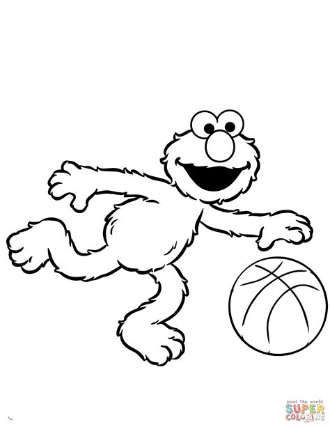 elmo coloring dibujo de elmo juega al baloncesto para colorear dibujos