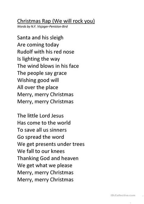 printable rap lyrics christmas rap worksheet free esl printable worksheets