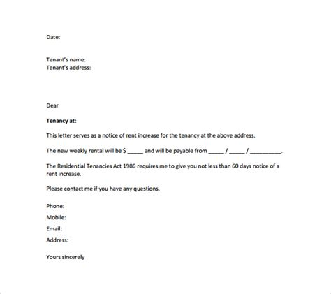 Rent Raise Letter Template Sle Rent Increase Letter 8 Documents In Word Pdf