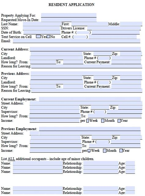 printable rental application form free free georgia rental application form pdf template