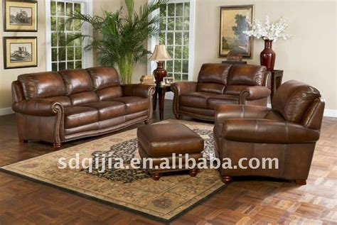 Livingroom Furniture Antique American Style Furniture Real Leather Sofa Set