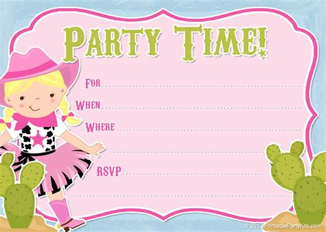 printable invitation party free printable cowgirl party invitation from