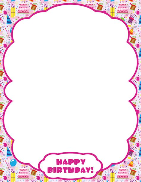 birthday card border templates printable happy birthday border use the border in