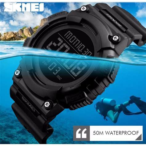 skmei jam tangan digital pria dg1248 black green