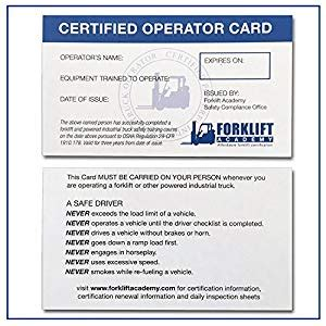Forklift Operator Card Template by Forklift Certification Wallet Cards Package