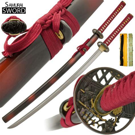 handmade samurai maroon katana sword set