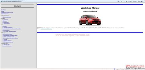 free auto repair manuals free auto repair diagrams ford focus 2012 2013 workshop manual free auto repair