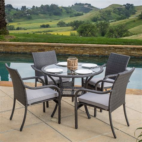 Wicker Patio Dining Sets Kadelyn Outdoor 5pc Grey Wicker Dining Set Gdf Studio