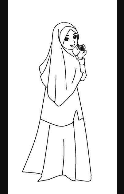 gambar kartun muslimah lucu hitam putih lukisan kartun