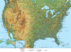 usa map with geography physical map of unted states
