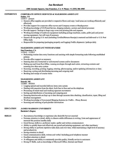 Mailroom Assistant Sle Resume Mailroom Assistant Resume Sles Velvet
