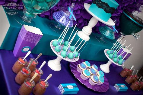Blue And Purple Birthday Decorations by Purple And Teal Birthday Ideas Photo 1 Of 23