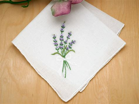 Embroidery Design For Handkerchief | set of 3 lavender embroidered handkerchiefs