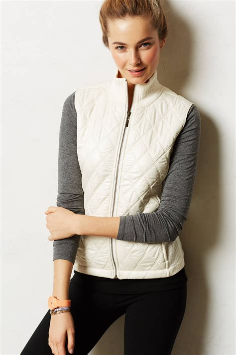 White Quilted Vest by Anthropologie Quilted Puffer Vest In White Lyst