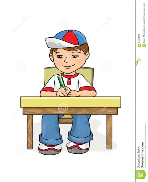 examination boy sitting at a table and wrote stock