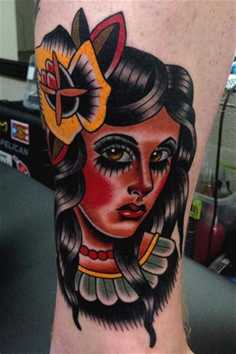 old school tattoo indian girl arm old school indian tattoo by montalvo tattoos
