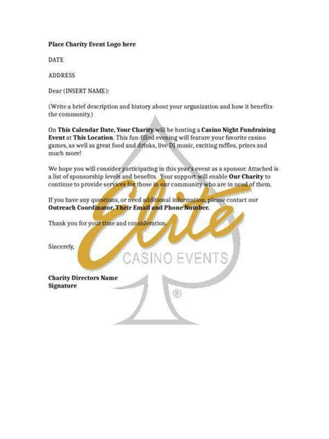 charity letter for venue the basics of casino fundraising elite casino events