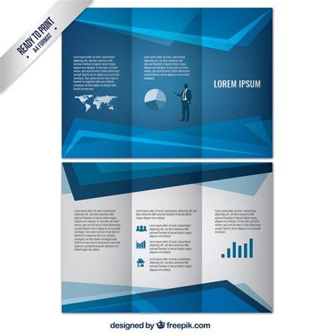 blue geometric business brochure vector free download