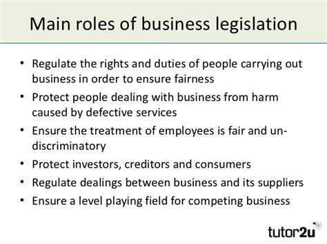 business and the regulation of business business and legislation