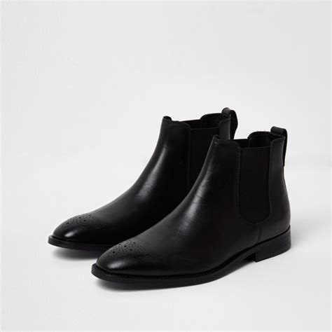 mens black leather boots black leather brogue chelsea boots boots shoes boots