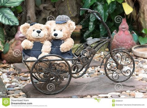 Two Teddy Bears On Garden Background Stock Image   Image