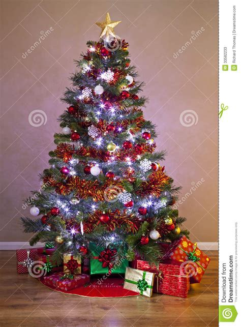 decorated christmas tree with gifts stock image image