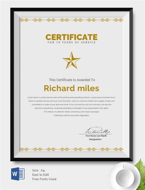 Service Award Certificate Template – 8  service award certificate template   sample of invoice