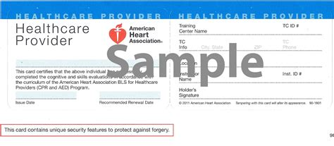 american association healthcare provider card template sle of cpr card 2016